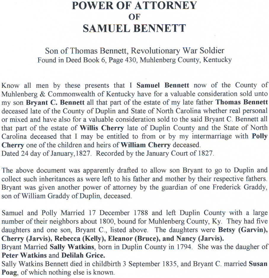 Power of Attorney Samuel Bennett