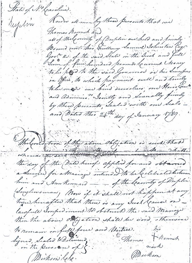 MARRIAGE BOND of THOMAS BENNETT TO ANN KINNARD