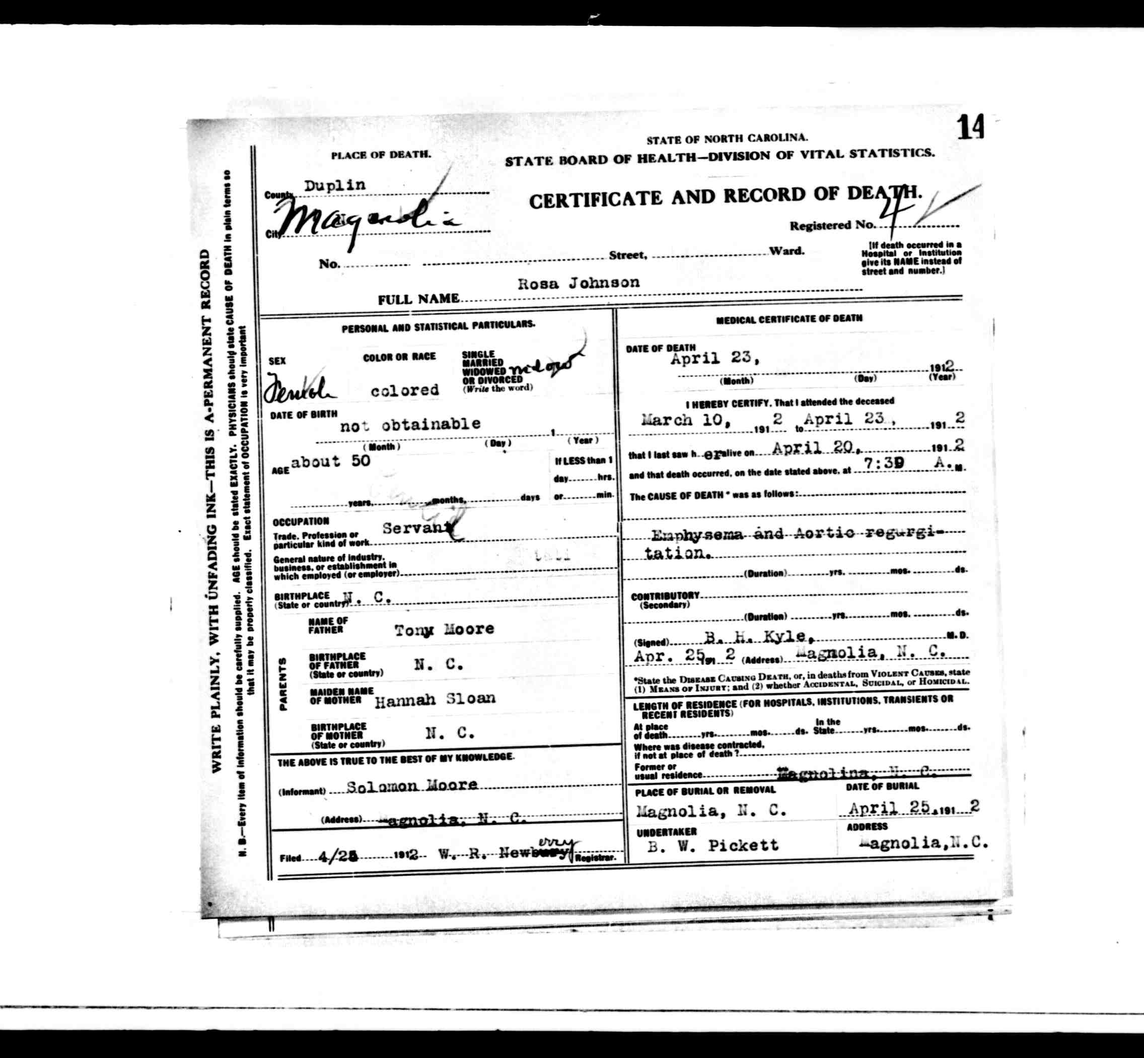 Duplin County Death Certificates from 1912