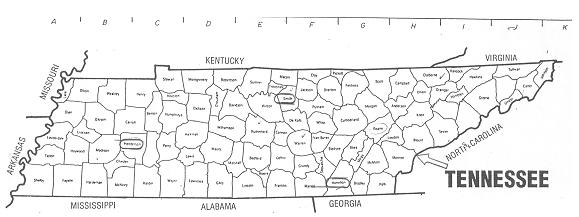 Map Of Tennessee Counties With Names Tidal Treasures - County maps of tennessee